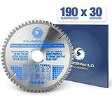 FALKENWALD ® - Lama per Sega Circolare 190 x 30 mm - Ideale per Legno - Metallo e Alluminio - Compatibile con Bosch & Makita