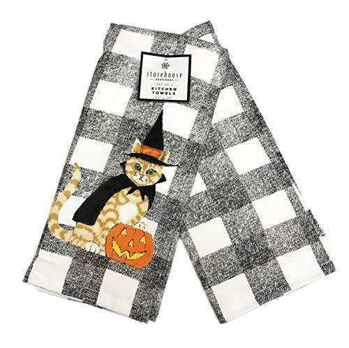 HOUSE STORE Festliche Katze in Hexenkostüm 2er Set Deko schwarz weiß kariert Halloween Motto Küche Handtücher