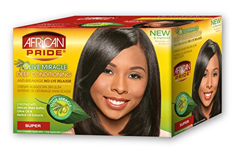 African Pride Olive Miracle Deep Conditioning Anti-Breakage No-Lye Relaxer Kit SUPER - Relaxer Kit Super