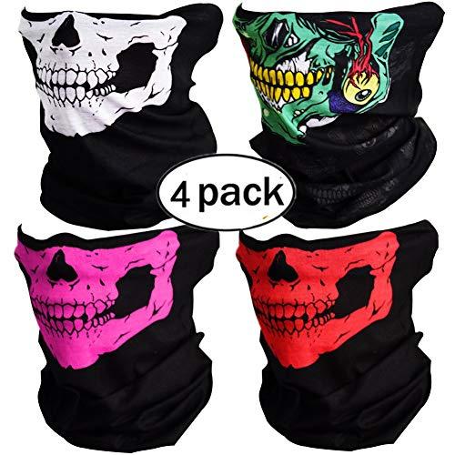 4 Stück Motorrad Totenkopf Maske Sturmmaske Skull skelett Maske Nahtlose Half Face Skull Tube Maske für ()