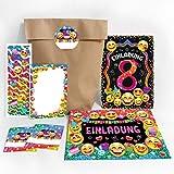 JuNa-Experten 12 Einladungskarten 8. Geburtstag Mädchen Einladung achte Kindergeburtstag Einladungen zum Geburtstag incl. 12 Umschläge, 12 Tüten / Natur, 12 Aufkleber, 12 Lesezeichen, 12 Notizblöcke