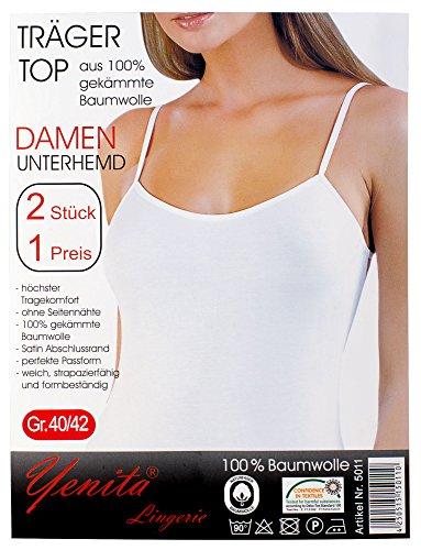 Yenita® 2 Stück Damen Unterhemden mit dezent glänzender Satinband-Einfassung, BW Spaghetti Top