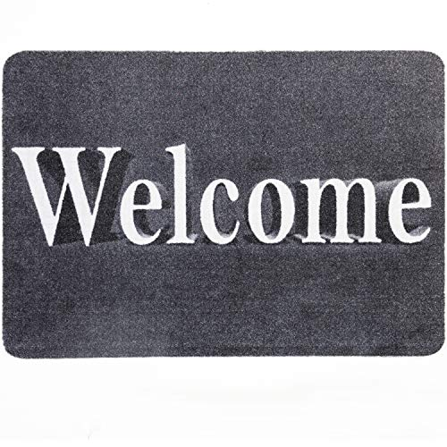 Fußmatte Welcome, Fussmatte Innen, Rutschfest, Waschbar - Schmutzfangmatte - Fussabtreter - Türmatte 40x60cm