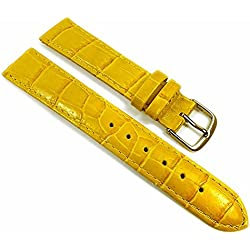 Louisiana Print Replacement Band Watch Band Leather Kalf Strap yellow 21766G, width:28mm