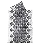 Leonado Vicenti 4 teilige Bettwäsche Mikrofaser 2 x 135x200 cm Bettbezug + 2 x 80x80 cm Kissenbezug kariert grau weiß mit Reißverschluss