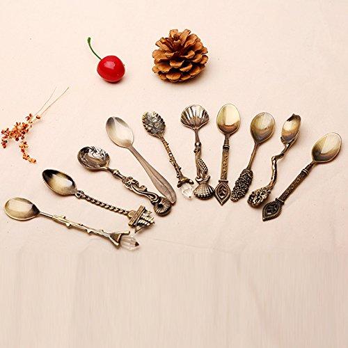 pedgeo (TM) 100/Set klein Kaffee Löffel Küche Esszimmer Bar Vintage Royal Style Bronze geschnitzt Besteck Besteck Dessertlöffel für Snacks C28 -
