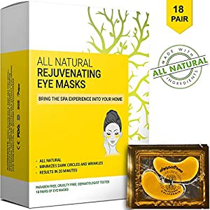 (18 pairs) Under Eye Mask - All Natural Treatment Gel Pads & Patches for Puffy Eyes & Bags, Dark Circles and Wrinkles | 24K Gold with Collagen, Hyaluronic Acid, Hydrogel | Designed in San Francisco