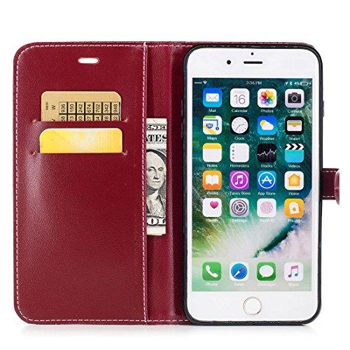 Yaking® Apple iPhone 7 Plus PU Portefeuille Étui Coque Stand Flip Housse Couvrir impression Case Cover vin rouge