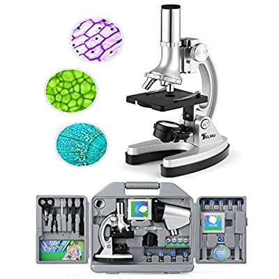 TELMU Microscope pour Enfants et Débutants, 300X, 600X et 1200X, 70 Pièces d'Assessoires fournis, avec Éclairage par LED et Lames, Valise et Préparation comprises