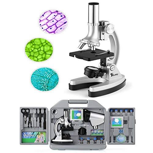 TELMU Microscopio Bambini Ingrandimento di 300X 600X 1200X Micro Proiettore con Braccio Metallo Regolabile e Luci LED 70pcs e Set di Accessori per