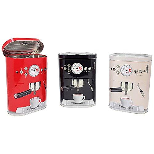com-four Retro Vorratsdose Coffee Machine in verschiedenen Farben, Frischhaltedose aus Metall mit...