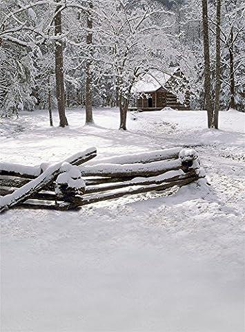 Aaloolaa Fond de photographie Photo fonds Winter Forest View Snow arbres Snow Land Log Cabin Clôture Adulte bébé enfant Kid les amoureux de Portrait Accessoires de scène d'extérieur pour enregistrement vidéo Studio 0,9x 1,5m Vinyle