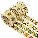 Mr-Label 1,5cm x 7m Scrapbooking Washi Tape - Kraft braun - Handwerk Masking Tape Aufkleber für DIY Scrapbook Kunstjournal | Bullet Journal | Geschenkverpackung (4 Rollen)