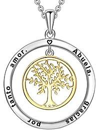 LOVORDS Collar para Mujer Plata de Ley 925 Vermeil Bicolor Colgante Árbol Familiar de la Vida Regalo Abuela
