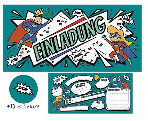 ELDEN Einladungskarten zum Kindergeburtstag + 13 Aufkleber Gratis - Mädchen Jungen / Party Mitgebsel Geburtstagseinladungen Karten Geburtstag Kinder ()