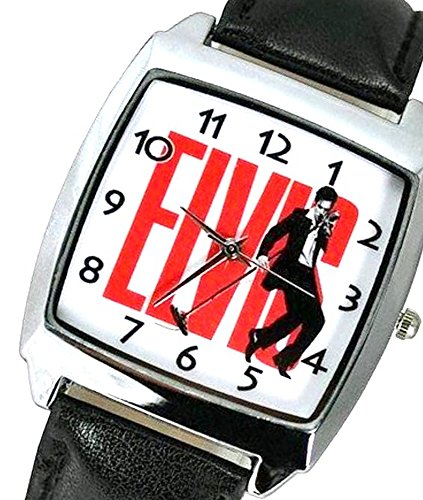 Elvis-Presley-Music-Legend-Quartz-Watch-with-Analogue-Display-high-quality-Calf-Grain-Real-Leather-strap