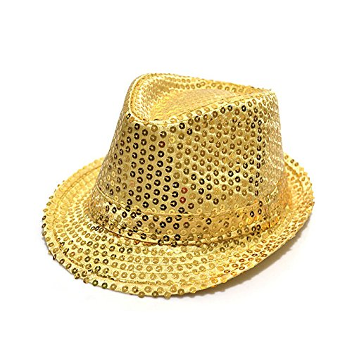 HUAYANG Coole Pailletten Design Kind Kid Fedora Panamahut Paillette Lässige Kappe (Herren Gold Hut Fedora)
