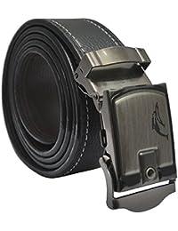 Sunshopping men's black auto lock buckle pu leather belt (Free Size)