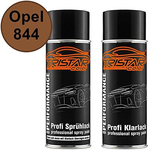 TRISTARcolor Autolack Spraydosen Set für Opel 844 Rehbraun Basislack Klarlack Sprühdose 400ml