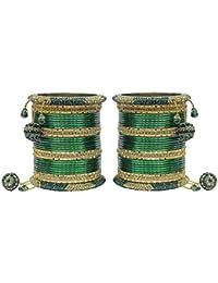 MUCH MORE Set Of 64 Crystal Made Bangles/Kada Set Wedding (Golden-Green)