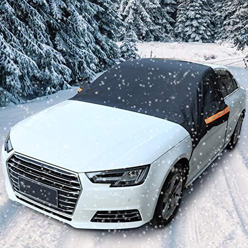 PowerTiger Auto Windschutzscheibe Abdeckung Schnee EIS Frost Sonne UV Staub Wasserdicht, Perfekte Passform für Autos SUVs bei jedem Wetter (230x150cm)