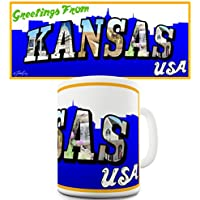 Twisted Envy Greetings from Kansas in ceramica a forma di tazza - Arkansas Postcard