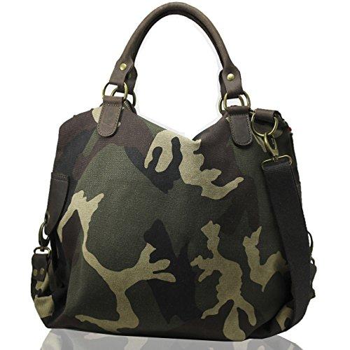 FERETI Tasche Damen Neu Damentasche Camouflage Handtasche Militär Militärgrün Bag Army Khaki Shopper Schultertasche Vintage Militärstil (Camo Digital Vintage Acu)