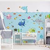 Bilderwelten Wandtattoo Unterwasserwelt - Fisch Set Wandtattoo Wandsticker Kinderzimmer Illustration, Größe: 80cm x 120cm