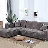 SSDLRSF Blumendruck Sofa Abdeckung Tight Wrap All-inclusive-Stretch-Schonbezüge für Wohnzimmer waschbar Home/Hotel Couch Cover (90-300cm), Farbe 3,4seater 235-300cm