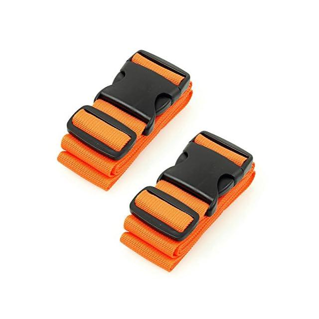 CSTOM Sangle Valise Bagage Voyage Accessoires, 2-Pack, Orange
