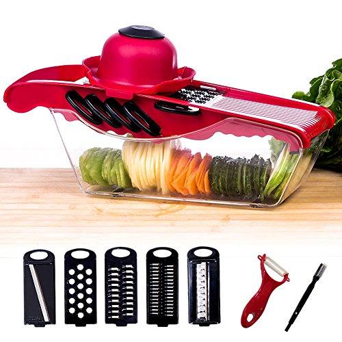 5 in 1 Gemüseschneider Kartoffelschneider / Pflanzliche Slicer / Multi Gemüsehobel, Profi-Mandoline Reibe für schneide, hacke, würfle, reiben, julienne und Aufbewahren