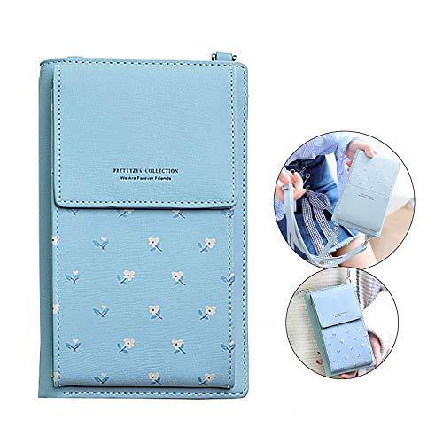 Techcircle Kleine Handytasche, multifunktional, PU-Leder mit Kreditkarten-Fotohalter, Abnehmbarer Schultergurt, leicht, für iPhone 5,5 Zoll, Galaxy S10 Plus, blau -