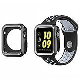 KONKY Apple Watch 3/2/1 38mm Hülle Case, Sport Leichte Hochwertige Silikon Schutzhülle Weich Tasche Schutz Bumper Gehäuse Abdeckung für 38mm Apple Watch Series 3/2/1, Schwarz Grau