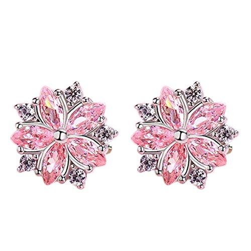 Lovinda Mädchen Versilbert Ohrstecker Nette Kirschblüten Zirkon Ohrringe Frauen Kreative Mode Ohrringe Günstige Schmuck für Dame Geburtstagsgeschenk