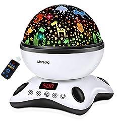 Idea Regalo - Moredig - Proiettore Stelle Bambini, 360° Rotazione Musicale Proiettore Lampada con lo Schermo Led e Telecomando, 8 Modalità Romantica Luce Notturna, Regalo per Neonati, Bambini (Nero e Bianco)