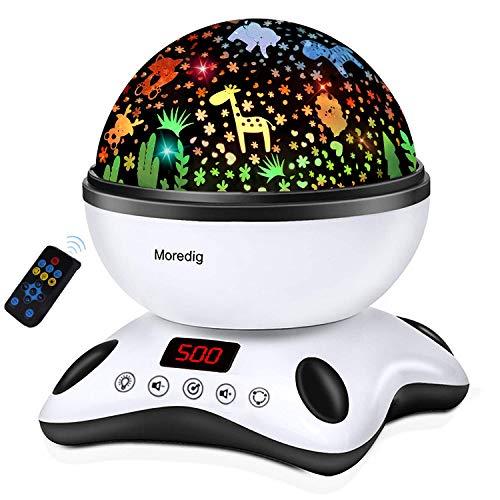 Moredig - Proiettore Stelle Bambini, 360° Rotazione Musicale Proiettore Lampada con lo Schermo Led e Telecomando, 8 Modalità Romantica Luce Notturna, Regalo per Neonati, Bambini (Nero e Bianco)