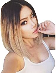 WPQES Chic Omber Droite Couleur Bob Lace Front Synthétique Synthetic Women perruque