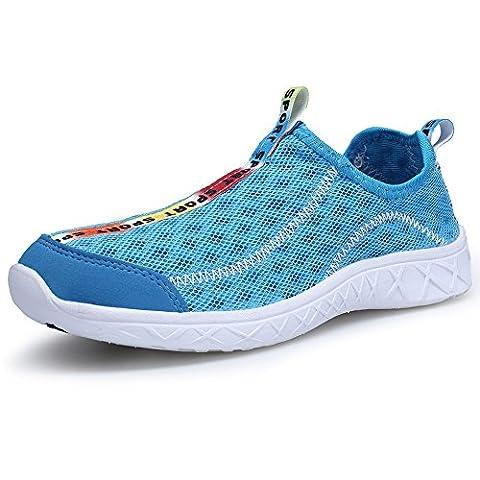 XKMON Chaussure Femme de Basket Chaussures d'eau Sport Aquatique Chaussons Water Shoes Respirante En Mesh avec Rayures Noirs et Blanches En Plein Air Outdoor Plage Bain XZ206W Light Blue 36