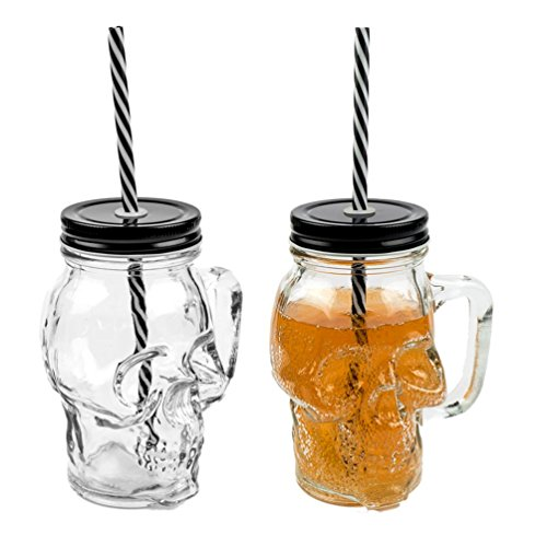 3D Totenkopf Glas Trinkglas mit Deckel und stabilem Strohhalm 500ml 2er-Set