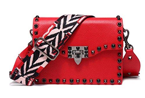 ZXH Schulter diagonal breiten Schultergurt Handtaschen aus echtem Leder Handtaschen Mode Nieten Ledertaschen Handytasche , B (Leder Echtem Handtasche Eimer Aus)