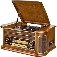 Roadstar HIF-2030 BT Retro Stereo-Anlage mit Plattenspieler, Kassette, CD-Player, Bluetooth und Radio (CD / MP3, USB, LCD-Display, Fernbedienung, 100 W), braun