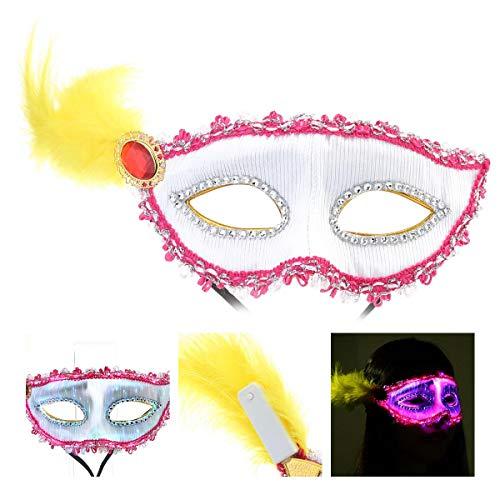 FOONEE Feder LED Maske, USB Wiederaufladbar Masquerade Mardi Gras Hälfte Gesicht Maske Für Männer Frauen Cosplay Maske Dance Party Weihnachten Halloween Party Gear Rose