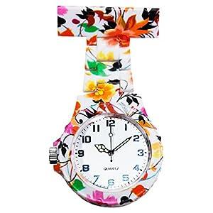 Ellemka – Krankenschwestern   Damen Herren Unisex   Taschenuhr Ansteckuhr Analog   Digitales Quarzwerk   Hängeband aus ABS Kunststoff   NS-2102 N Art Design Mehrfarbige Blumen