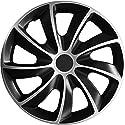 (Farbe und Größe wählbar) 14 Zoll Radkappen QUAD Bicolor (Schwarz-Silber) passend für fast alle Fahrzeugtypen – universell