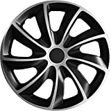 (verschiedene Größen) 13 Zoll Radkappe / Radzierblende 1 Stück Quad Bicolor (Schwarz-Silber) passend für fast alle Fahrzeugtypen – universal