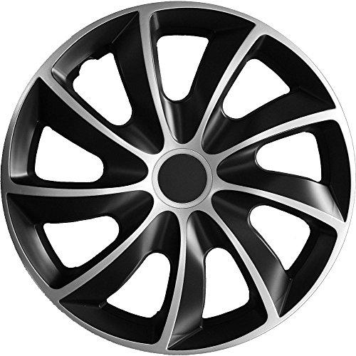 (Größe wählbar) 16 Zoll Radkappen / Radzierblenden Quad Bicolor (Schwarz-Silber) passend für fast alle Fahrzeugtypen - universal