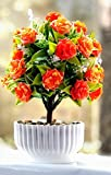#1: RaajaOutlets Artificial Flowers Plants with Pot for Home Office Garden Indoor Decoration (Orange)