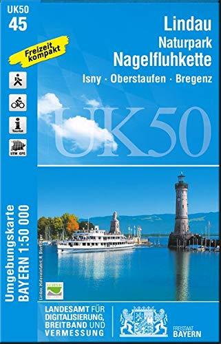 UK50-45 Lindau, Naturpark Nagelfluhkette: Isny, Oberstaufen, Bregenz, Wangen i.Allgäu, Lindenberg i.Allgäu, Immenstadt i.Allgäu (UK50 Umgebungskarte ... Karte Freizeitkarte Wanderkarte)