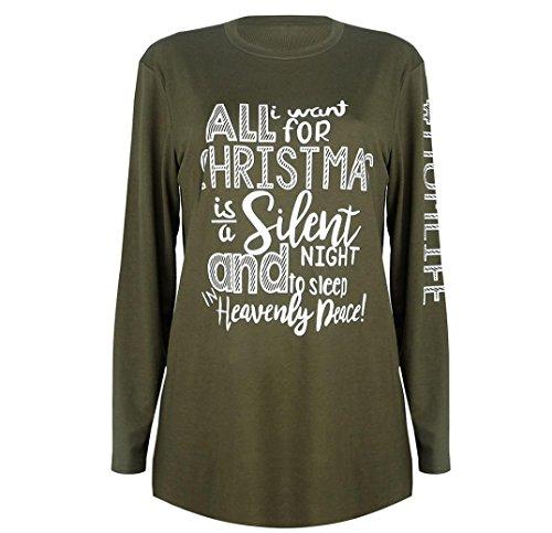Christmas Damen Sweatshirt, Hmeng Brief Gedruckt Frauen Langarmshirt Bluse Baumwolle Langarm Blousen Tops T-Shirt Einfarbig Lässig Schwangere Bekleidung (Armeegrün, XL)