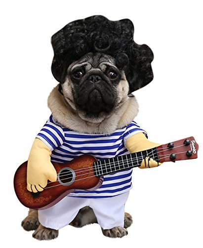 EOZY-Costume Cane Funny Dress Up Vestito Festoso Halloween Costume Pet Fantasia Cosplay Festa Stile Chitarra Seno 34cm